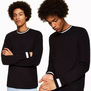 Topman Black Long Sleeve Ringer Sweater T-Shirt